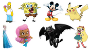 Homer Simpson, Molly, Toothless, Star Butterfly, Mickey Mouse, SpongeBob SquarePants, Pikachu & Elsa