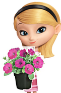 Penny with the petunias