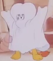 Red Fraggle as bedsheet ghost