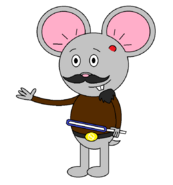Mr. Einstein Hamster (with a saber staff activating) with another blue blade shown.