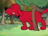 Clifford the Big Red Dog Stuck between 2 trees