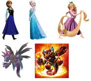 Hydreigon, Fire Kraken, Anna, Elsa & Rapunzel