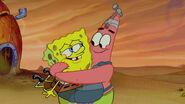 Patrick hugs spongebob