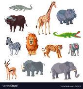 Elephants Rhinoceroses Hippos Buffaloes Baboons Gazelles Crocodiles Bullfrogs