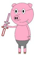 Vilburt Oinks (cigarette) (saber) (red and pink)
