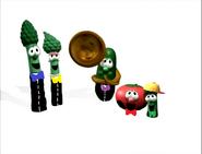 Dad Asparagus, Mom Asparagus, Bob the Tomato, Larry the Cucumber and Junior Asparagus singing opera