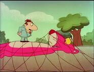 Pink panther trapped in the net with big nose 2