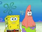 Spongebob and patrick walk road