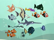 The curious fish followed Grand Minimus, Teensy Queen and Riley's friends inside his car