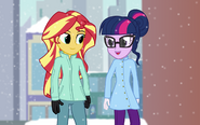 Twilight and Sunset in snow.