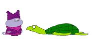 Chowder meets Green Sea Turtle