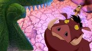 Rex scares Timon and Pumbaa