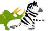 Plains Zebra and Triceratops 2