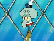 Squidward walking away
