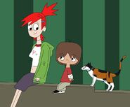 Mac, Frankie and the calico cat