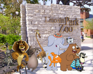 Alex, Marty, Melman, Gloria, Dennis, Darwin, Grizz and Mama Mirabelle go to the Lincoln Park Zoo