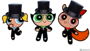 The Powerpuff Girls wearing tuxedos and top hats