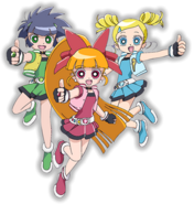 Powerpuff Girls Z Blossom, Bubbles and Buttercup pose
