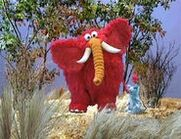 Blue Mouse in A Very Windy Storm with Little Red Furry Elephant