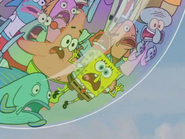 Spongebob and everybody screaming at bull frog