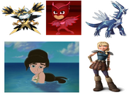 Dialga, Melody, Astrid Hofferson, Owlette & Mega Zapdos