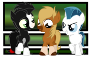 Philippe, Khan, and Pegasus as MLP colts