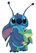 Stitch and froggy no background by monkitteh-d9mps0e