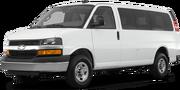 2019-Chevrolet-Express Passenger-white-full color-driver side front quarter