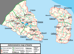 Cities routes map Istalia