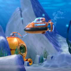 Zuma and Ryder using Zuma's Sub to free the trap Diving Bell in