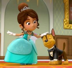 Princess of Barkingburg pets Chase