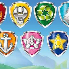 All of the pups' badges except for Tracker's.