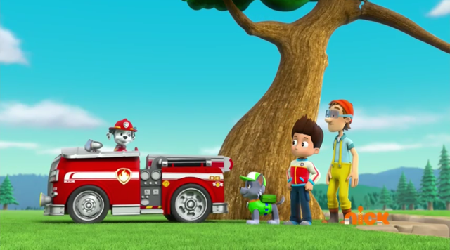 File:PAW Patrol Pups Save a Lucky Collar Cap'n Turbot Ryder Marshall Rocky.PNG