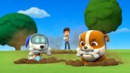 Rubble and Robo-Dog with bones