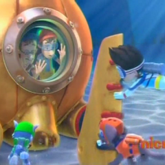 Ryder and the PAW Patrol reattaching the Diving Bell's rudder in