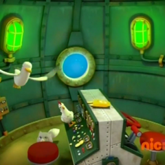Seagull, Chickaletta, and Cali inside the runaway Diving Bell in