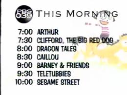 PBS Kids Transportation Morning Schedule (WFWA, 2002)