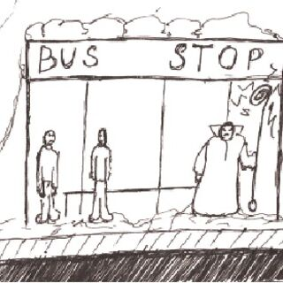 <i>Ginkus, at a bus stop</i><br />