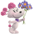 Fifi With Holding a Purple Flowers.png