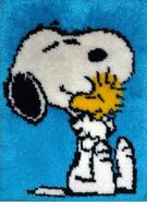 Snoopy and Woodstock hug rug