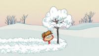 Lincoln imitating the Charlie Brown Christmas title card