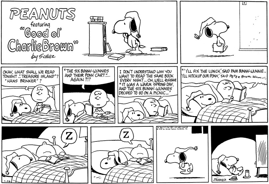 The First Reference To The Bunny Wunny Books In The Sunday Strip From July  26, 1970.