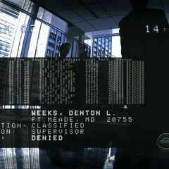Ésta y las siguientes imágenes de video indican que la Máquina revisó su registro de acceso y concluyó que Denton Weeks perpetró intentos de conexión no autorizados contra la máquina. Como resultado ésta considera que es una