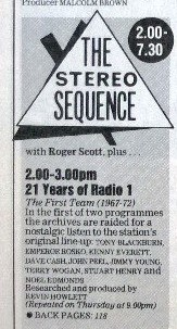 1988-09-24 RT 21 years of R1 Stereo Sequence listing