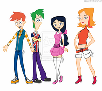 Phineas and ferb in high school redrawn colored by shaolinfan1-d6u36ro