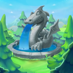 A fountain sculped in form of Lord Cinderbottom in <i>Peggle 2</i>