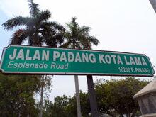 Esplanade Road sign, George Town, Penang