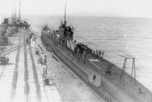 Japanese submarine I-10 at Penang port in 1942