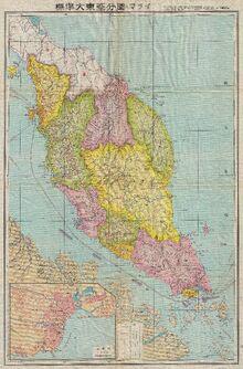 Map of Japanese Malaya (World War 2)