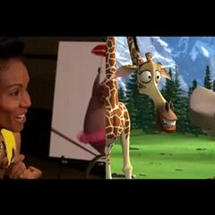 Jada Pinkett Smith records one of Gloria's scenes with Melman